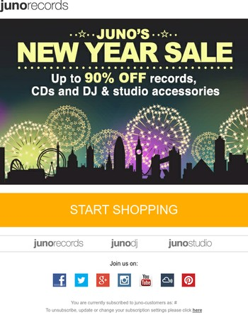 Juno's New Year Sale! Up to 90% off records, CDs and DJ & studio accessories...