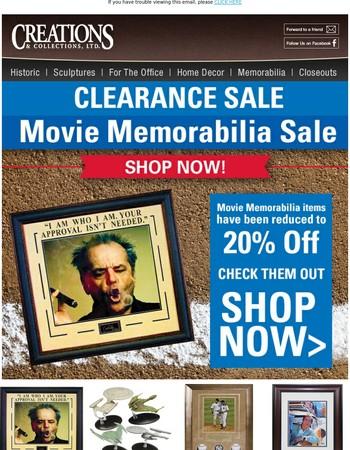 Movie Memorabilia Sale 20% off!