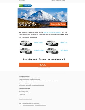 Last Chance - Get up to 10% off car rental in 2017