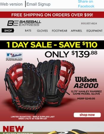 1 Day Only - Save $110 - Wilson Hanley Ramirez 12.75