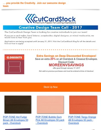 We provide the card stock. . .