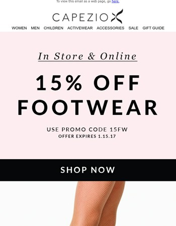 15% Off Footwear Sale