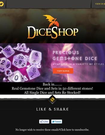 Precious Gemstone Dice RE STOCK - Opallite, Hematite, Obsidian, Amethyst & Others