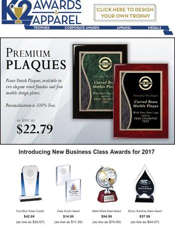 New for 2017 - Premium Achievement Plaques