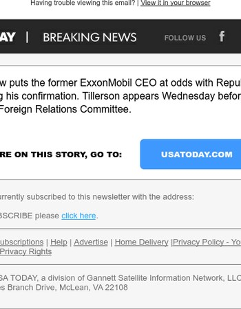 BREAKING: Secretary of State nominee Rex Tillerson expressed interest in Iran deals in 2016