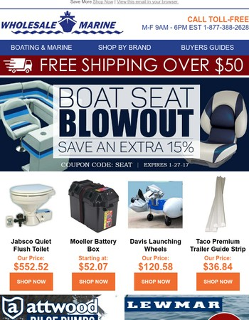 Last Chance! 15% Off Boat Seats!