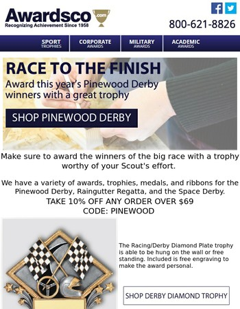 Ready, Set, Race: We have your Pinewood Derby Awards