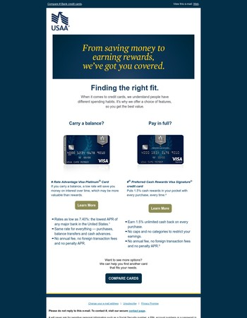 Explore your credit card options from USAA Bank