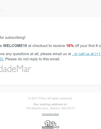 10% OFF! As promised, your OndadeMar coupon