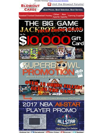 Promo Bonanza!! NEW All-Star Promo Plus Big Game Promos Filling Fast!