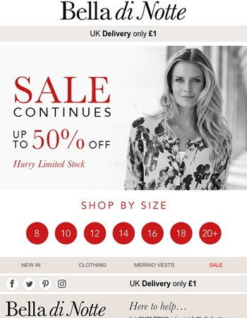 50% SALE | Easy shopping by sizes