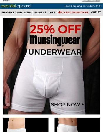 STARTS NOW! - 25% OFF Munsingwear