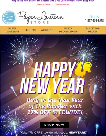 ✨Happy 2017! Enjoy 17% OFF Sitewide This Week✨