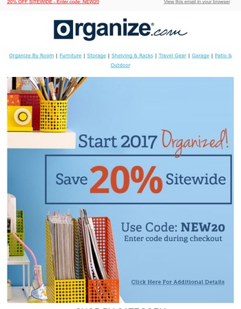 Are You Getting Organized in 2017? Save 20% Sitewide