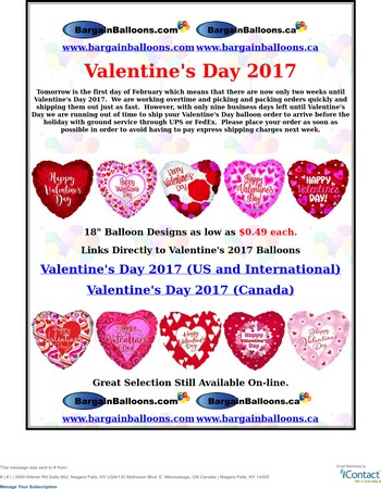 Bargain Balloons-Only 2 Weeks Until Valentines Balloon Reminder.