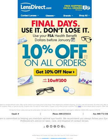 FSA Final Days! ◷ Use it. Don't Lose it!