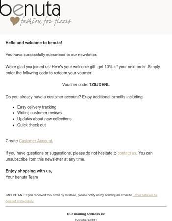 Newsletter Subscription: Your Voucher Code