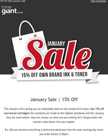January Sale | 15% off ink & toner