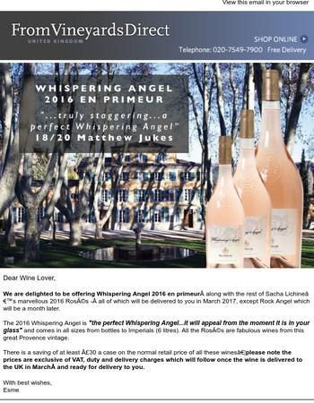 Whispering Angel 2016 En Primeur - Save £32 per case