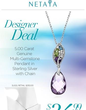 24-Hours Only! 5 Carat Multi-Gemstone Necklace - Save Hundreds!