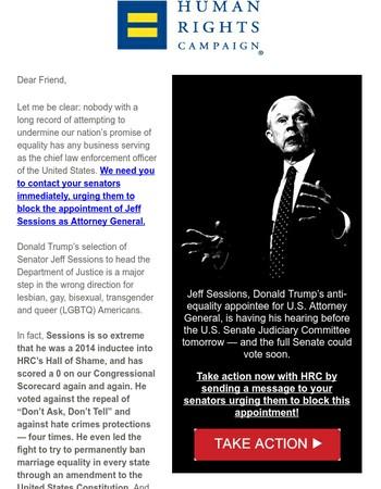 URGENT: Tell the Senate to block Sessions!