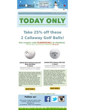 24 hour Flash Sale! 25% off 2 Callaway models!