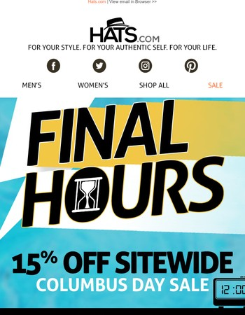 Final Hours ⌛ Save 15% Sitewide