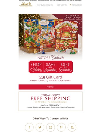 Advent Calendars Are Here! Receive A $15 Gift Card When You Buy 3 At Lindt Chocolate Shops.