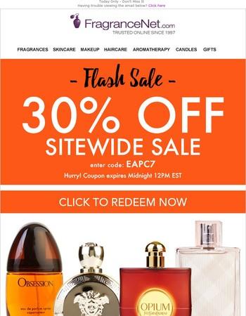 Flash Sale Starts Now! 30% OFF
