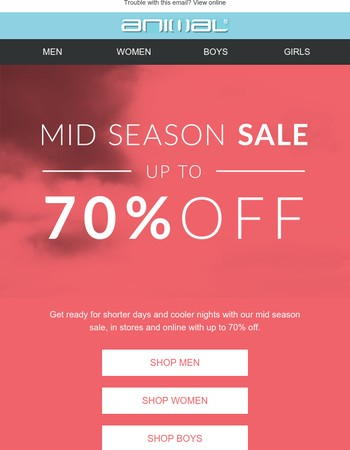 Mid Season Sale – prep for winter with up to 70% off!