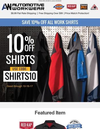 Save 10% Off Work Shirts!