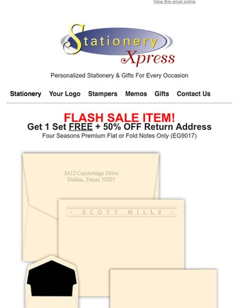 Buy One Get One FREE + 50% OFF Return Address Flash Sale!