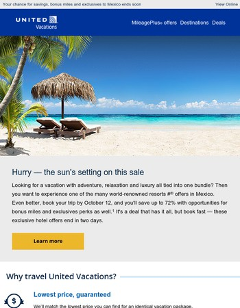 Last chance to book Mexico up to 72% off