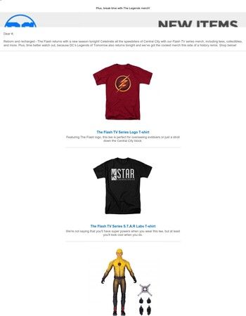 The Flash is back, and we've got tees, collectibles, and more!
