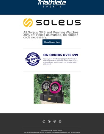 All Soleus GPS and Running Watches 30% off! Prices as marked, no coupon code necessary.