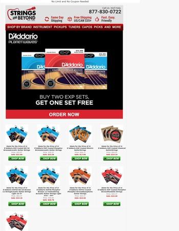 Buy 2 Get 1 Free on D'Addario EXP Strings!