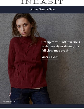 Online Sample Sale! Over 75% Off Select Styles.