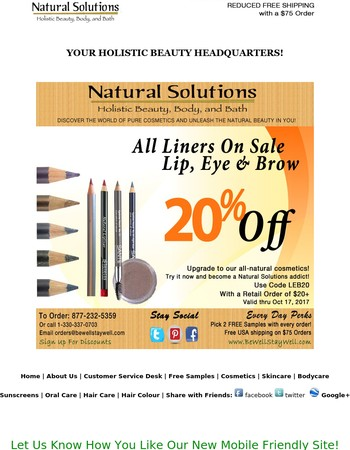 Save 20% Off Holistic Beauty Liner Products Including Lip, Eye & Brow Now!
