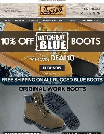 10% Off + Free Shipping on Rugged Blue Boots!
