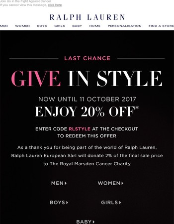 Ends Today: 20% Off In Our Give in Style Event