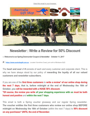 Newsletter has arrived from Australia Gift Shop - 50% Discount Voucher for Aboriginal Art Gifts&Aussie Bush Elementsif you Write A Review about us