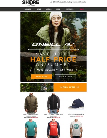 O'Neill - Save Upto Half Price on Fashion + Wetsuits at Shore.co.uk
