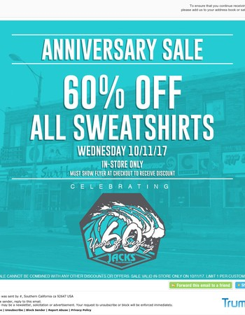 60% OFF SWEATSHIRTS! TODAY ONLY