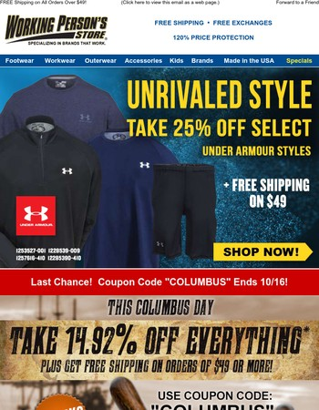 Take 25% Off Select Under Armour!  Columbus Day Coupon Ends 10/16!