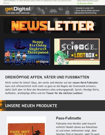 Geeks und Nerds aufgepasst! Fußmatten für Jedi-Meister und Lootboxen für Wissenschaftler erwarten Euch im getDigital Nerdletter!