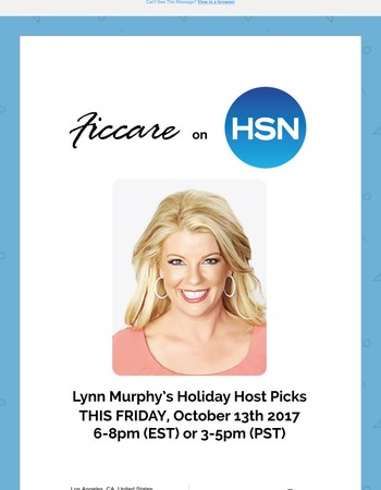 FICCARE ON HSN AGAIN! - This Friday, Oct 13th from 6-8pm (EST)