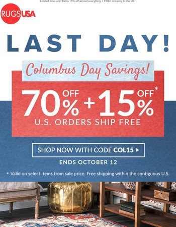 This is it! Last chance to save an extra 15% off + Free Shipping!