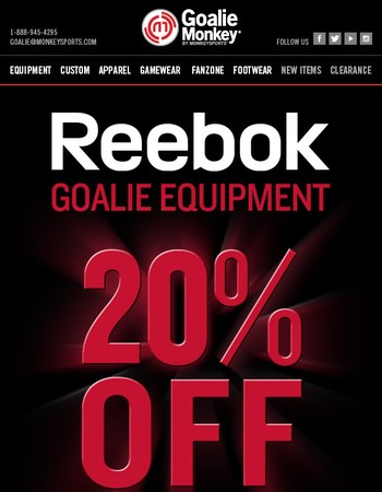 Take 20% Off Reebok Goalie Equipment!