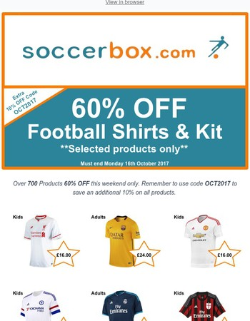 *Weekend Special* 60% OFF Football Shirt & Kit Plus Extra 10% OFF Coupon