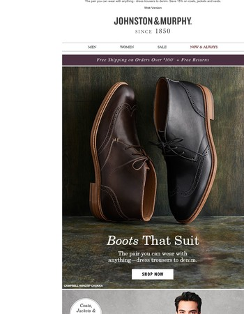 Boots That Suit + 15% Off Outerwear